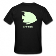 GFP fish - glow in the dark print (heren) t-shirt